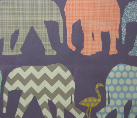 small baby elephants and flamingos navy