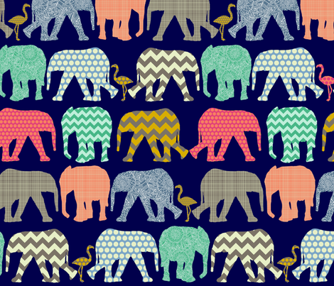 small baby elephants and flamingos navy fabric by scrummy on Spoonflower - custom fabric