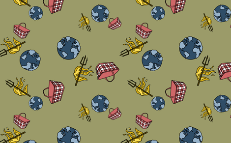 World. Hell. Handbasket. (now in green) fabric by chris on Spoonflower - custom fabric
