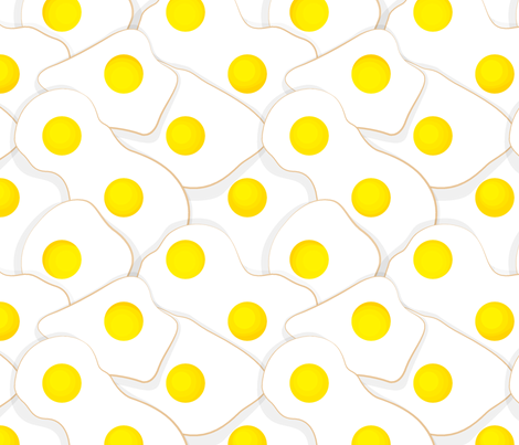 Fried Eggs Disguised as Polka Dots fabric by isabelc on Spoonflower - custom fabric
