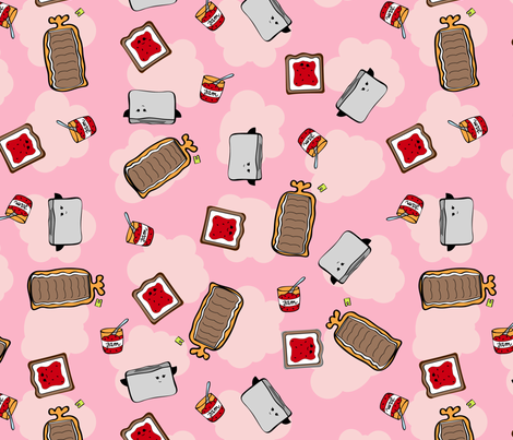 toast_and_jam_pink fabric by quirkied on Spoonflower - custom fabric