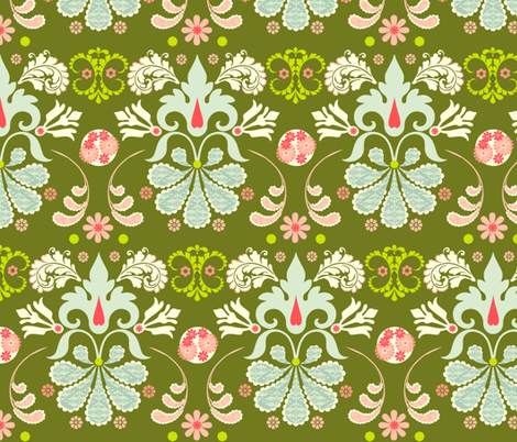 Olive Damask fabric by natitys on Spoonflower - custom fabric