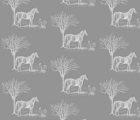 Horse n Cock Grey fabric by dolphinandcondor on Spoonflower - custom fabric