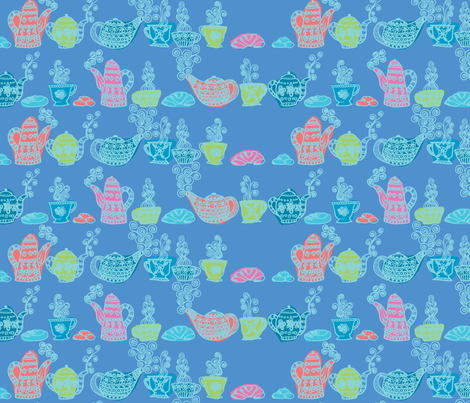 petit_déjeuné_gourmand_bleu fabric by nadja_petremand on Spoonflower - custom fabric
