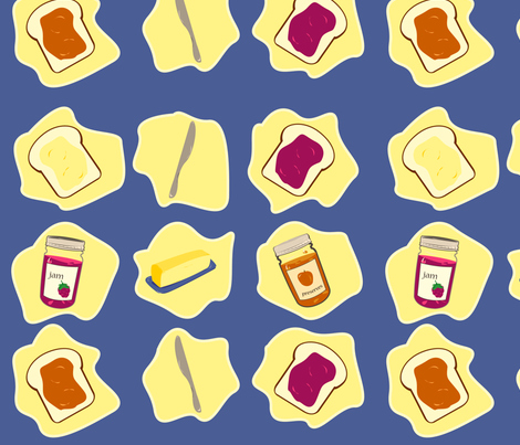 Butter & Jam on Bread fabric by featheredneststudio on Spoonflower - custom fabric