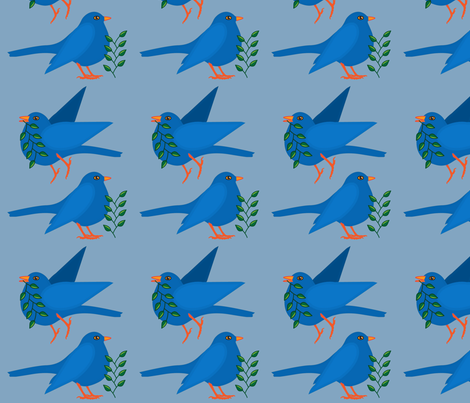 blue_birds fabric by katmor on Spoonflower - custom fabric