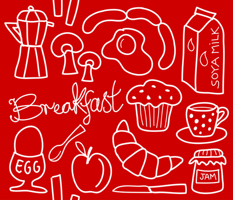 breakfast_red fabric by peppermintpatty on Spoonflower - custom fabric