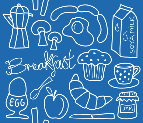 breakfast_blue fabric by peppermintpatty on Spoonflower - custom fabric