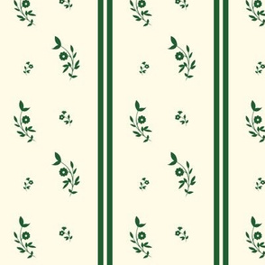 1750-1775 Green Stripe with Floral Sprig