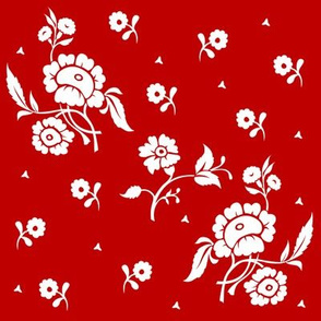1769 White on Red Floral