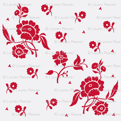 1740s-1769 Red on White Large Floral