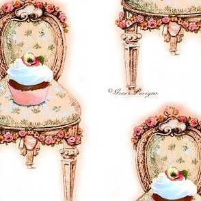 Pink Cupcake Victorian Chair Large Size