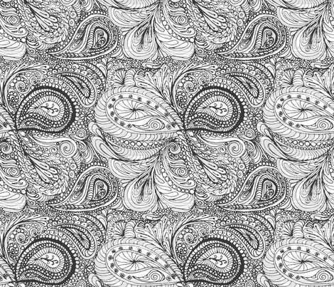grey paisley - colouring in