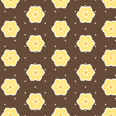 Dark Chocolate Floral - Banana fabric by inscribed_here on Spoonflower - custom fabric