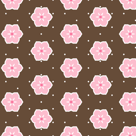 Dark Chocolate Floral - Fairy Floss fabric by inscribed_here on Spoonflower - custom fabric