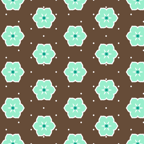 Dark Chocolate Floral - Peppermint fabric by inscribed_here on Spoonflower - custom fabric