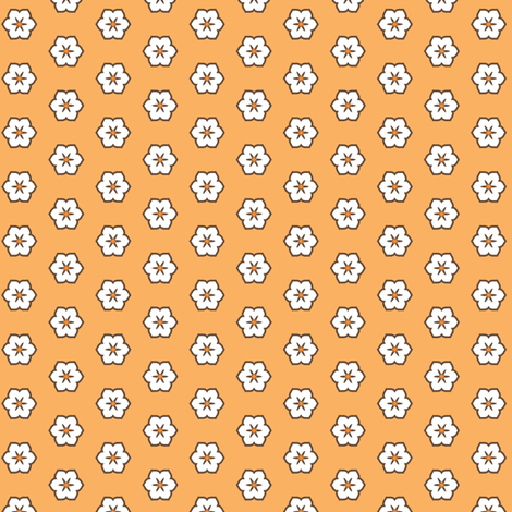 White Chocolate Floral - Orange fabric by inscribed_here on Spoonflower - custom fabric