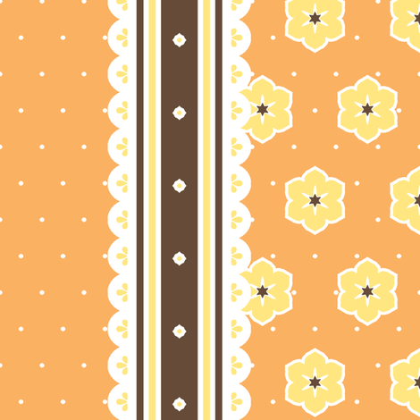 Chocolate Border Ribbon - Orange fabric by inscribed_here on Spoonflower - custom fabric