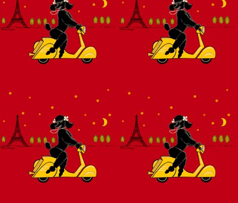 Black Poodle Scooter fabric by greerdesign on Spoonflower - custom fabric
