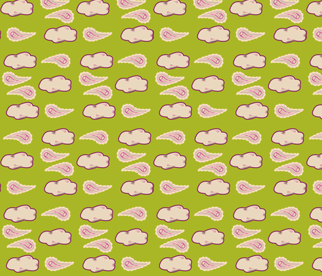 paisley_on_green_with_clouds fabric by featheredneststudio on Spoonflower - custom fabric