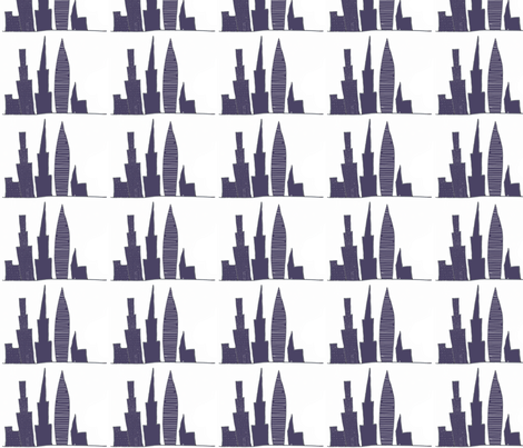 City Skyscrapers, buildings outline, blue,white fabric by sew_delightful on Spoonflower - custom fabric