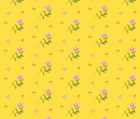 1780 Yellow Chinese Style Print fabric by americanduchess on Spoonflower - custom fabric
