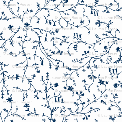 1770 Vines and Florals- Navy