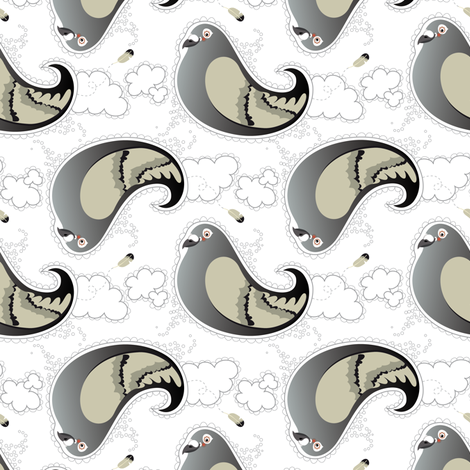 Pigeon-Paisley fabric by verycherry on Spoonflower - custom fabric