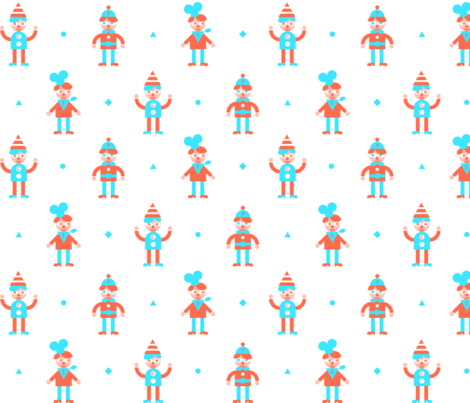 boys on white fabric by jevaart on Spoonflower - custom fabric