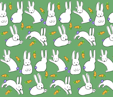 bunny is funny fabric by chezmargot on Spoonflower - custom fabric