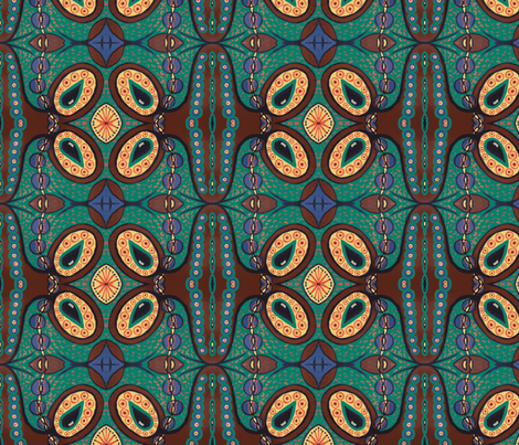 Teal/brown tear pod fabric by tallulah11 on Spoonflower - custom fabric