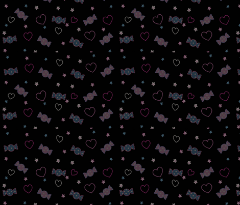 Unicorn Fantasy Candy Repeat Black fabric by pinkmacaroon on Spoonflower - custom fabric