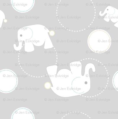 Tossed Elephants Grey