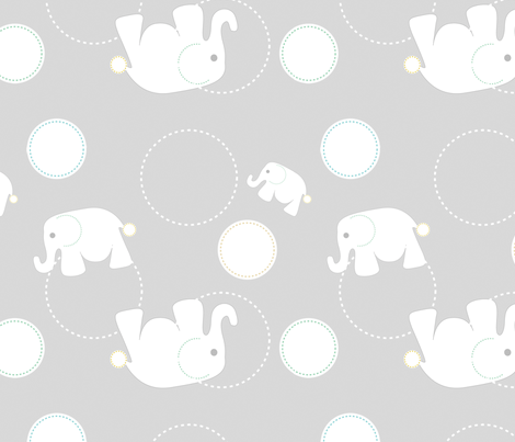 Tossed Elephants Grey fabric by reannalilydesigns on Spoonflower - custom fabric