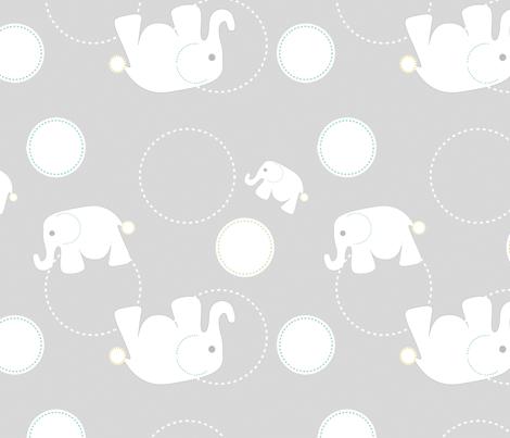 Tossed Elephants Grey fabric by reannalilydesigns on Spoonflower - custom fabric
