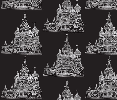 St Basil's white on black fabric by blue_jacaranda on Spoonflower - custom fabric