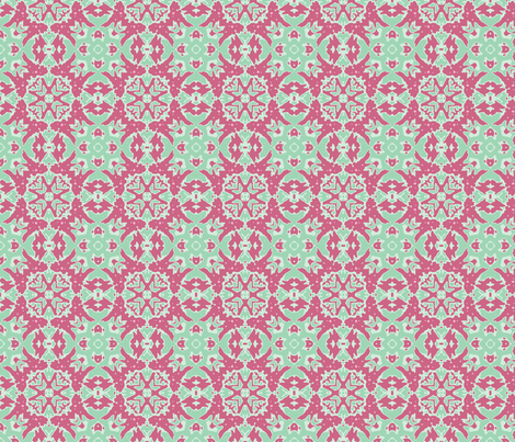 honeysuckle pink and green butterfly and Star_45_multi_aster_Picnik_collage_4-ch-ch-ch-ch fabric by khowardquilts on Spoonflower - custom fabric