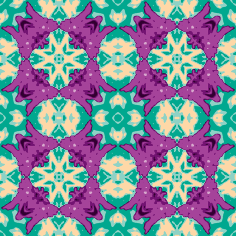 violet_and_blue green_butterfly and star crop_45_multi_aster_Picnik_collage_4-ch-ch-ch fabric by khowardquilts on Spoonflower - custom fabric