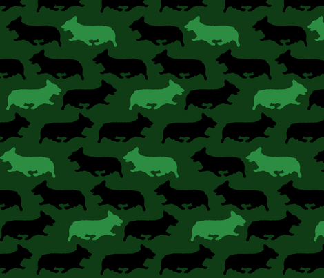Green camo Pembrokes fabric by rusticcorgi on Spoonflower - custom fabric