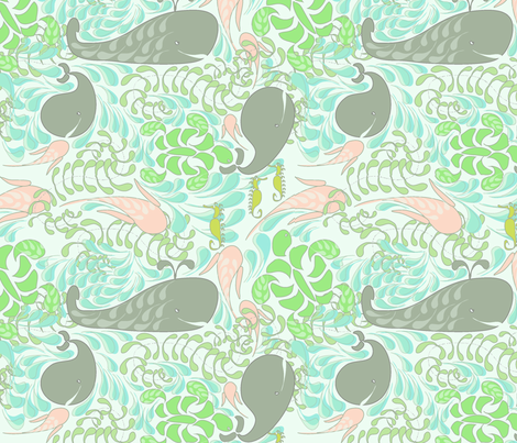 "AQUARIUM in ""PASTEL GREEN"" fabric by trcreative on Spoonflower - custom fabric"