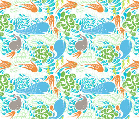 "AQUARIUM in ""SKY & TANGERINE"" fabric by trcreative on Spoonflower - custom fabric"