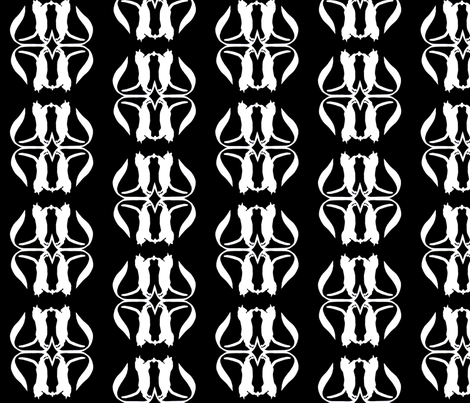 White Cats on Black fabric by thenuthatch on Spoonflower - custom fabric