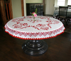 Round Folk Tablecloth and Handtowels
