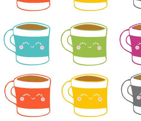 Happy Morning Mugs fabric by rileyconstruction on Spoonflower - custom fabric