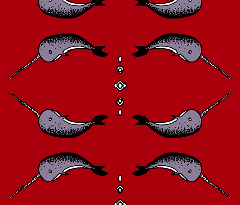 Large Narwhals fabric by pond_ripple on Spoonflower - custom fabric