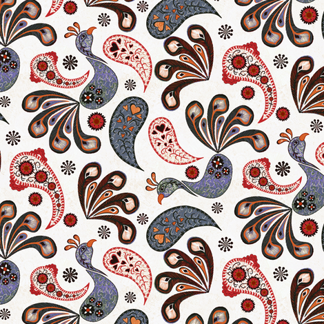 Paisley Peacock White fabric by kezia on Spoonflower - custom fabric