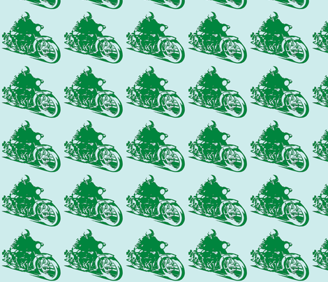 Motorcycle_Dude_greenonblue fabric by heeheejune on Spoonflower - custom fabric