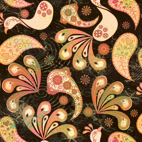 Paisley Peacock Vintage Dark Small fabric by kezia on Spoonflower - custom fabric