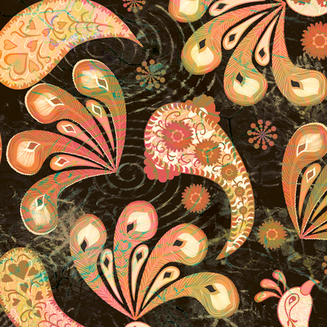 Paisley Peacock Vintage Dark fabric by kezia on Spoonflower - custom fabric
