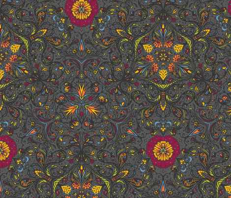 Blooming Paisleys - © Lucinda Wei fabric by lucindawei on Spoonflower - custom fabric
